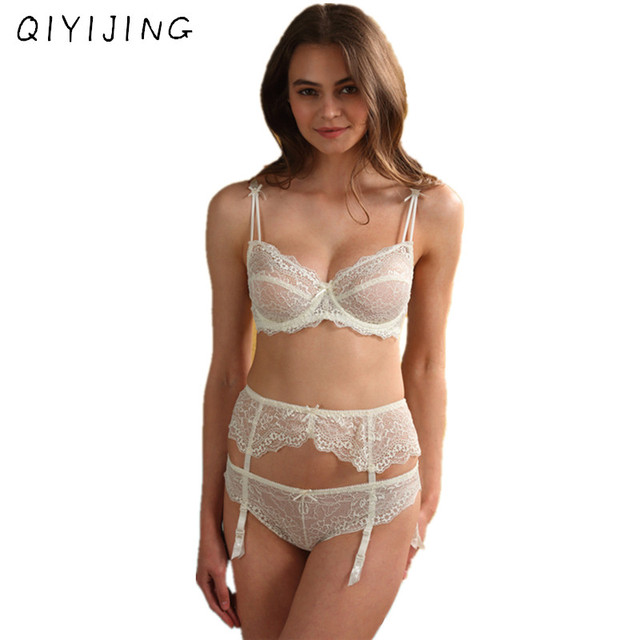 34a326722ac QIYIJING Women Lace Embroidery Bra and Panties Sets With Garter-belt Sexy  Lingerie Hollow Out Demi Bra Underwear