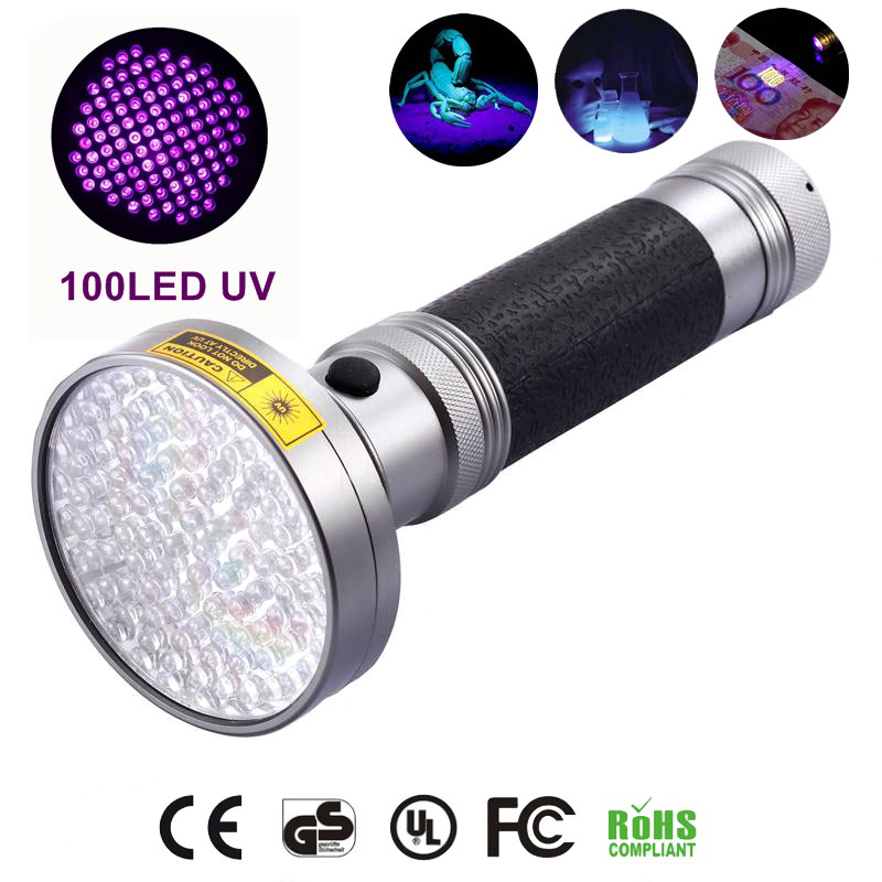 oobest Multi-function Aluminum Alloy Portable 100 LED UV Ultra Violet Flashlight Waterproof Blacklight Invisible Handy Torch 10w 12w ultra violet uv 365nm 380nm 395nm high power led emitting diode on 20mm cooper star pcb