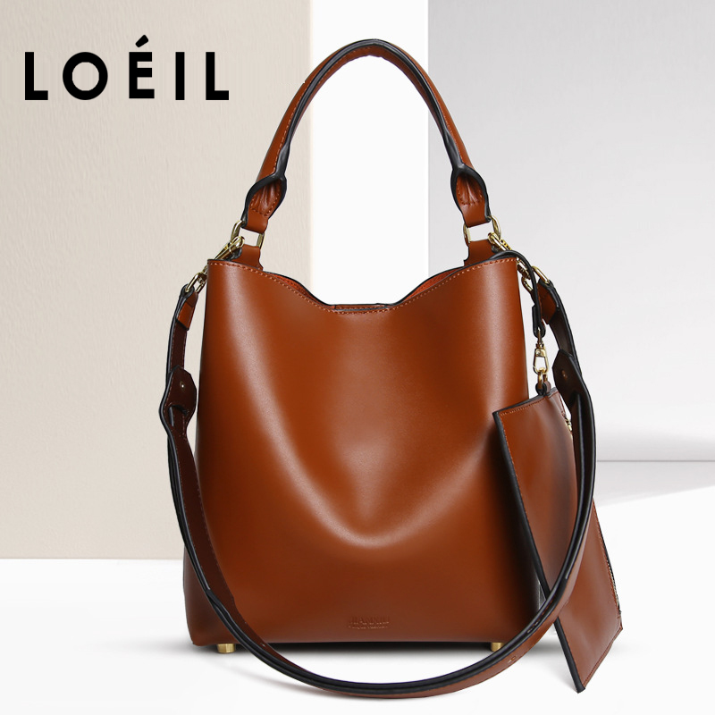 LOEIL Bag female 2018 new leather female bag shoulder diagonal handbag female European and American fashion bucket bag bobo bird l b08 bamboo wooden watches for men women casual wood dial face 2035 quartz watch silicone strap extra band as gift
