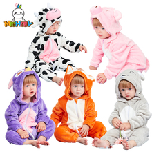 MICHLEY 2019 Baby Rompers Boys Flannel Clothes Newborn Girls Cartoon Pajamas Winter Animal Jumpsuits Roupas De Recem Nascido XYZ