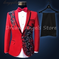 Fashion gentleman style custom made Boy's suits tailor suit Blazer suits boy 4 piece Embroidered sequins Clothing performances