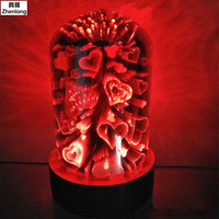 Bluetooth Music 3D Plating Glass LED Solid Wood Base Night Light Love USB 5V Creative Lamp