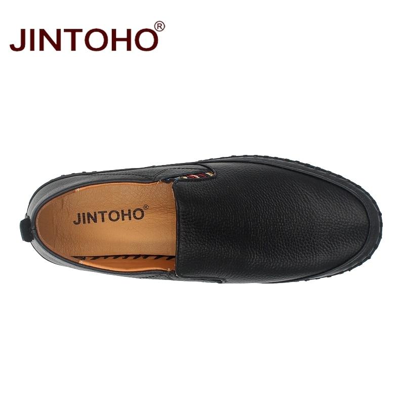 JINTOHO Big Size Men Genuine Leather Shoes Slip On Black Shoes Real Leather Loafers Mens Moccasins JINTOHO Big Size Men Genuine Leather Shoes Slip On Black Shoes Real Leather Loafers Mens Moccasins Shoes Italian Designer Shoes