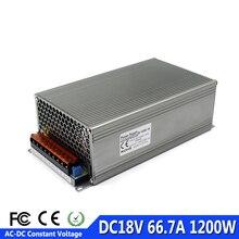 Регулируемый DC18V Мощность питания 66.7a 1200 Вт AC-DC драйвер трансформатор 220 В 110 AC DC 18 В smps для светодиодный дисплей полосы CCTV 3d принтер