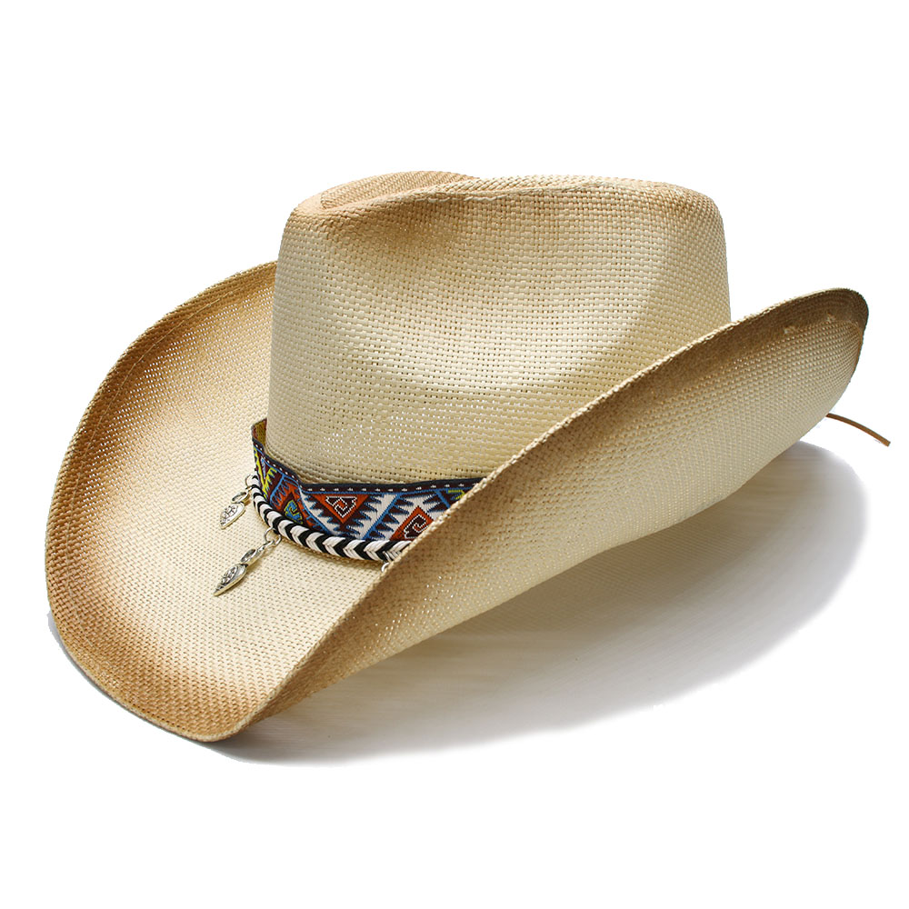 Women s Men s Summer Straw Beach Wide Brim Western Cowgirl Fedora Cowboy Hat  National Style Pendant Beads 8b910b7ccc10