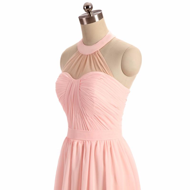 A-Line Floor Length Pink Bridesmaid Dress 2