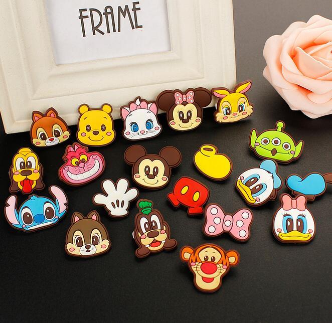 New 100pcs Mixed minnie stitch cat mickey Cartoon PVC Brooch Button Pin DIY Gift TT 4