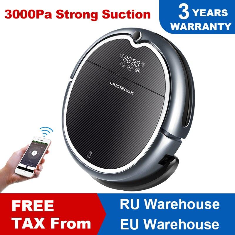 (Chegada nova) Robot Vacuum Cleaner Q8000 LIECTROUX, WiFi App, Mapa de Navegação, Inteligente de Memória, UV Esterilizar, Mop Seco Molhado, Sucção 3KPa