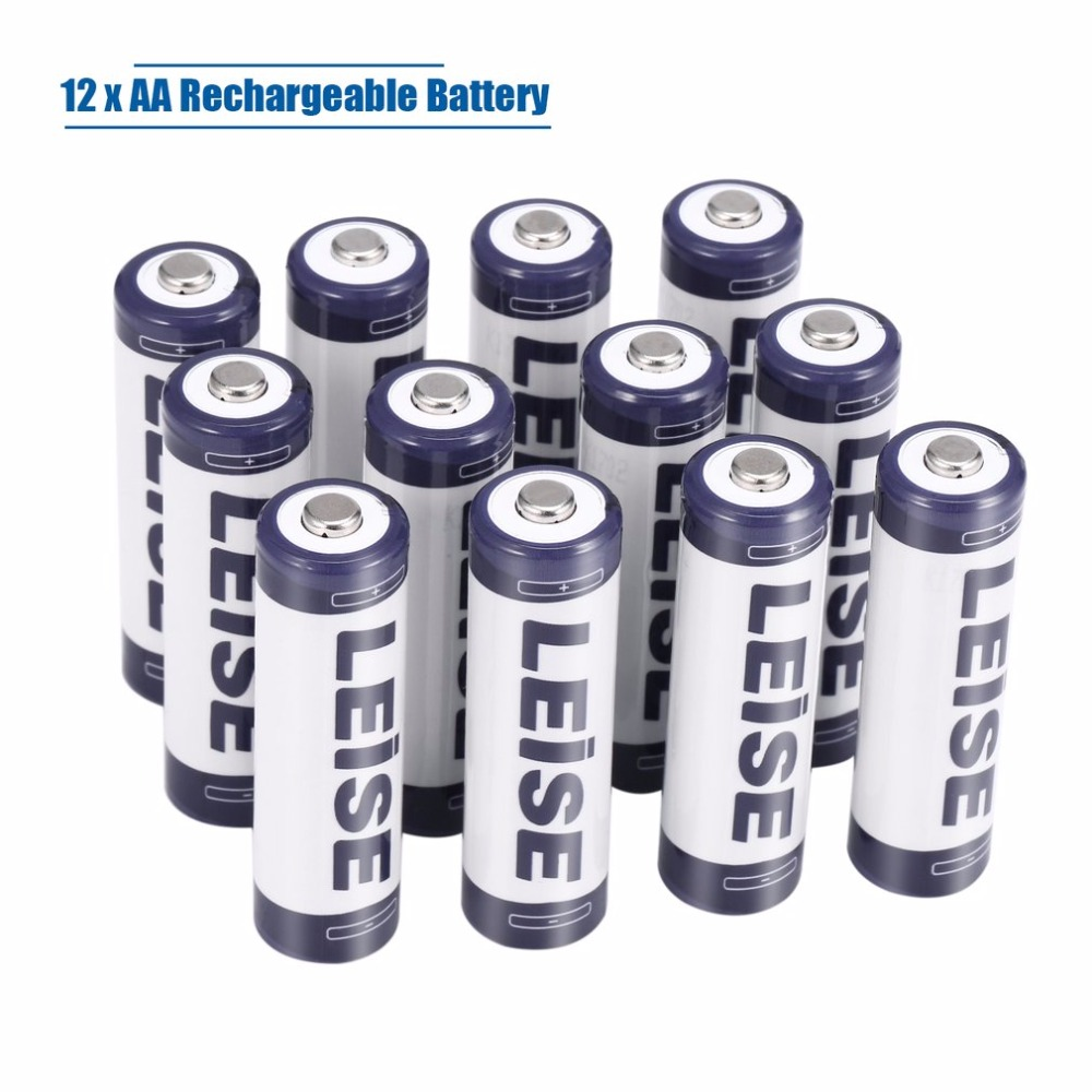LEISE 12PCS 2200mAh AA Ni-MH Batteries + 12 Slots Smart Rechargeable Battery Charger Set For AA/AAA Ni-MH Nicd Kit US EU Plug bty 1000 mini 1 2v aa aaa battery charger with 2 aaa 400mah ni mh batteries kit