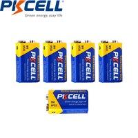 5pcs* pkcell 9 v batteries 6F22 Single-sex zinc carbon battery Super Heavy Duty Battery in bulk For Radio,Camera,Toys etc