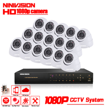 NINIVISION HD 16CH CCTV System Kit White Dome indoor 2.0mp hd Cameras with IR CUT Home Surveillance System 16 Channel DVR Kit