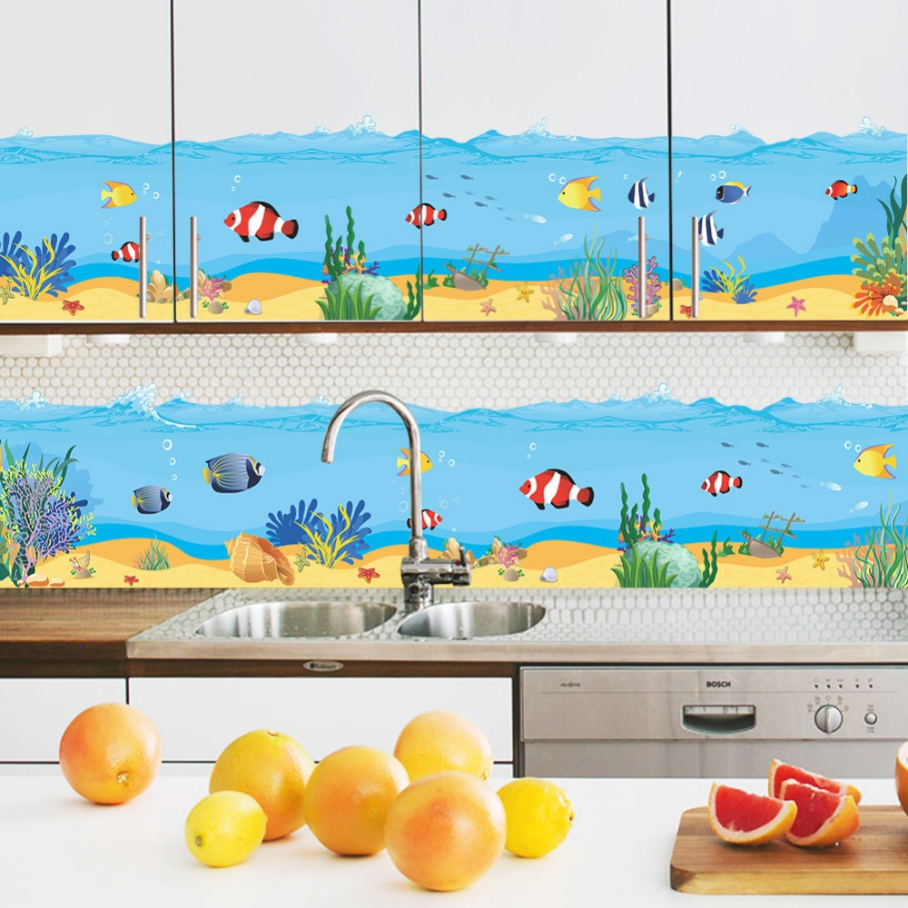 online get cheap vinyl wall decals aliexpress com alibaba group new underwater goldfish baseboard skirting pvc wall stickers for kids room living room bedroom home decor