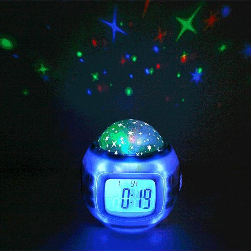 Оставьте dhipping Best Подарок Музыка Звездное сигнализации проекции часы Звездное небо Календари термометр с розничной Вышивка Крестом Пакет