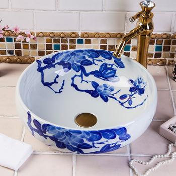 Chiny artystyczny Handmade Art umywalka ceramiczna umywalka umywalka umywalka umywalki łazienkowe łazienka vanity umywalki umywalki łazienkowe tanie i dobre opinie JINGYILE Zlewy na szampon ociekacz Zlewozmywaki blatowe Pojedynczy otwór Ręcznie malowane ROUND as show picture porcelain