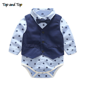 Top and Top Autumn Fashion infant clothing Baby Suit Baby Boys Clothes Gentleman Bow Tie Rompers + Vest + pants Baby Set 1