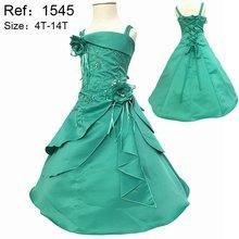 2016 Nouvelle Fille Robes Broderie Menthe Vert Fleur Fille Robes pour mariages Enfant Parti Robe Plus La Taille 4-10 ans Filles X-1545