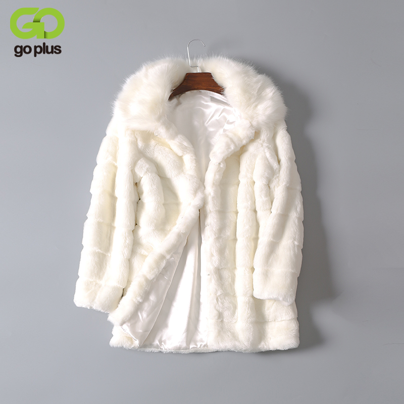 GOPLUS 2018 New Winter Woman Thick Warm Fur Coat Black White Fashion Faux Fur Coats Fur Collar Long Jacket Overcoat Parka C0871 woman 2016fw woman fashion patch bomber jacket with faux fur collar warm qulited lining side pockets