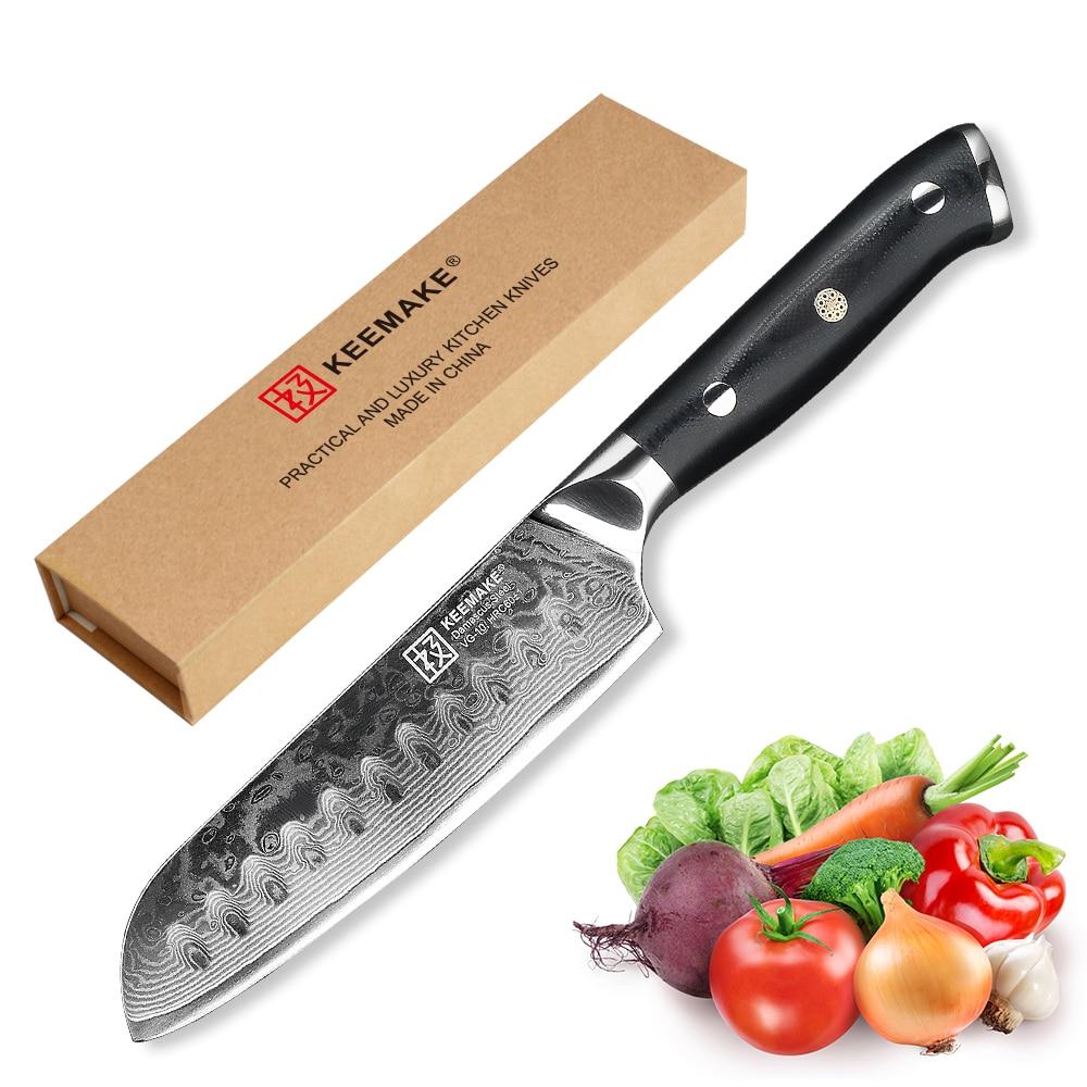 KEEMAKE 5 inch Santoku Knife Kitchen Knives 73 Layers Japanese Damascus VG10 Steel Sharp Strong Blade