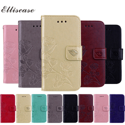 For Fundas iPhone 8 Plus Cover Leather Case Flip Cover For Coque iPhone8Plus Rose Floral Case For Case iPhone 8 Plus Phone Etui 1