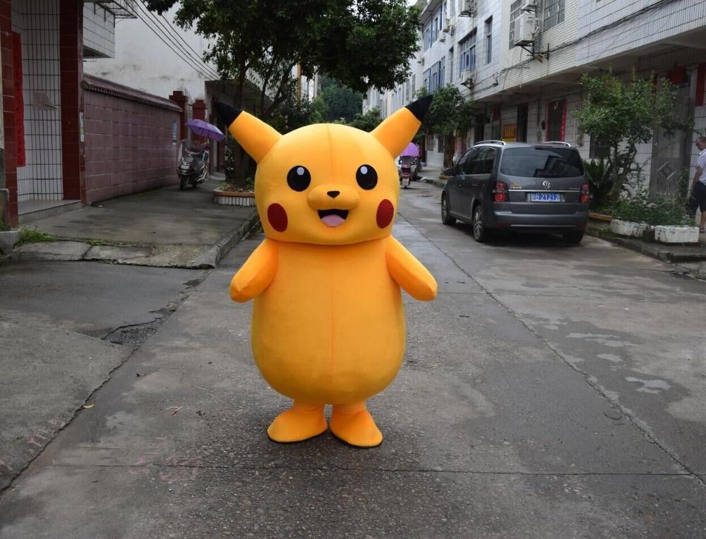 2017 de Alta calidad para la venta Pikachu traje de la mascota vestido de Navidad Halloween divertido animal mascota ropa tamaño adulto