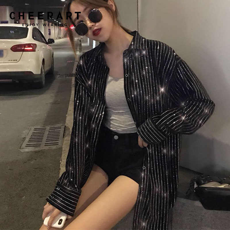 Cheerart Sequin Blouse Black Striped Velvet Disco Long Sleeve Shirt Women Glitter Tops And Blouses Femme Streetwear