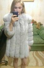 100% Natural Fox fur long coats 2016 new Russian women winter thick warm genuine Fox Fur jacket for women plus size fur overcoat
