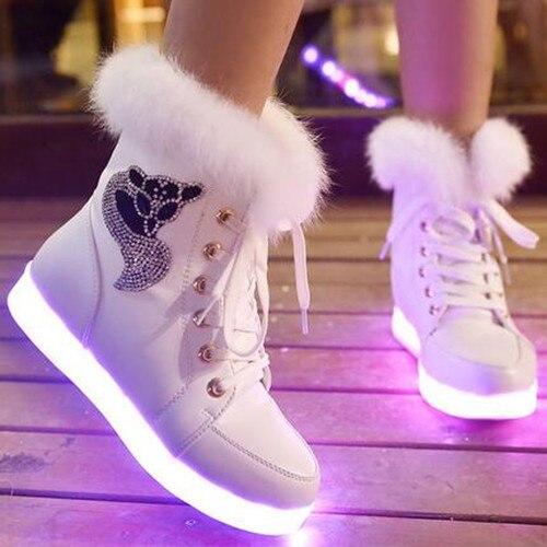 2016 Новый 7 Цветов Светящиеся Обувь Женщин Высокий Верх Кролика мех Ватные Сапоги USB Светодиодный Обувь Черный Зима Снег обувь