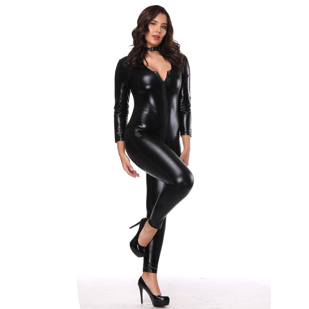 Buy Plus Size Black Wet Look Faux Leather Crotchless Catsuit Sexy Patent Leather Lingerie Women Spandex Bodysuit Hot Clubwear