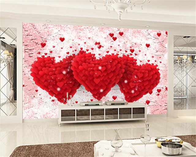 Beibehang Custom Marriage Room Decoration 3D Wallpaper Romantic Love Heart  TV Hotel Background Wall Wallpaper Mural