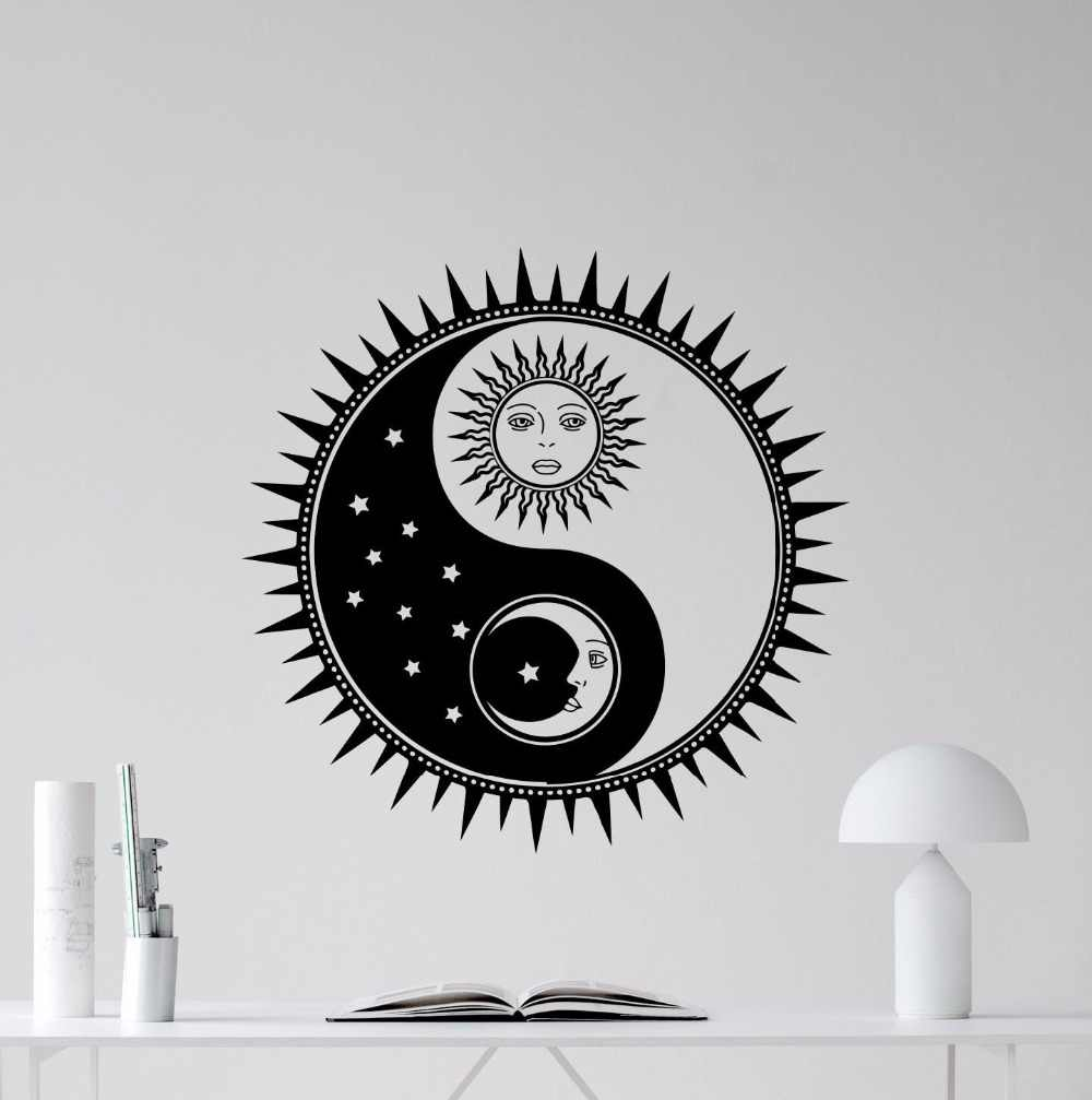 368d91fdc5 Detail Feedback Questions about Sun And Moon Wall Decal Vinyl Yin Yang Wall  Sticker Home Decoration Removable Stars Sky Wall Art Decor Vinyl Sun Mural  ...