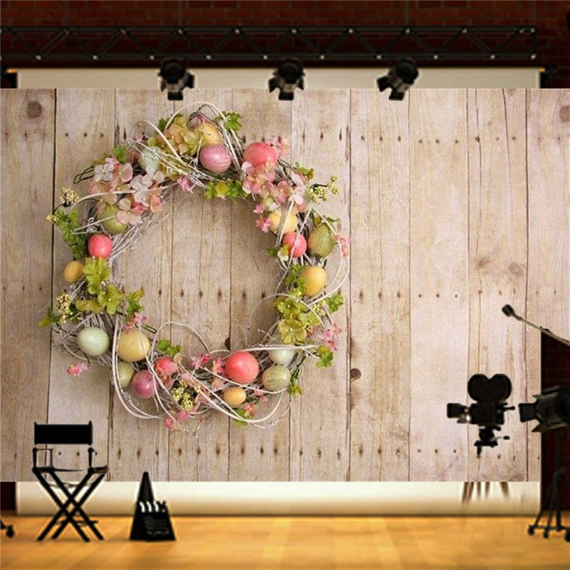 7x5FT Easter Egg Wood Board Photography Backgrounds Vinyl wall Studio Photo Backdrops Prop easter day basket colorful egg photo prop washable fleece photography backdrops for studio photography backgrounds hg 386 a