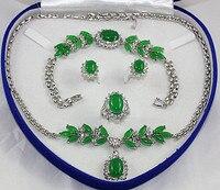 Cao quý Bridal wedding Trang Sức mạ Bạc xanh Jades Tiger eye đá Turquoises Trang Sức Set