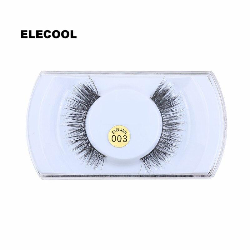 ELECOOL 1Pair Handmade Mink Hair False EyeLashes Extension Natural Long Cross Thick Fake False Eye lashes Cosmetic Makeup Tool