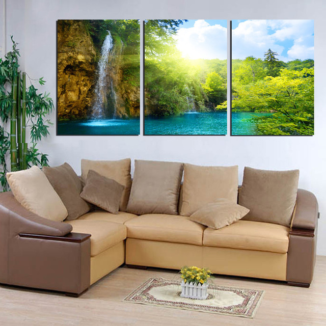 Large canvas wall art waterfall painting landscape green forest lake wall pictures home decor 3 piece