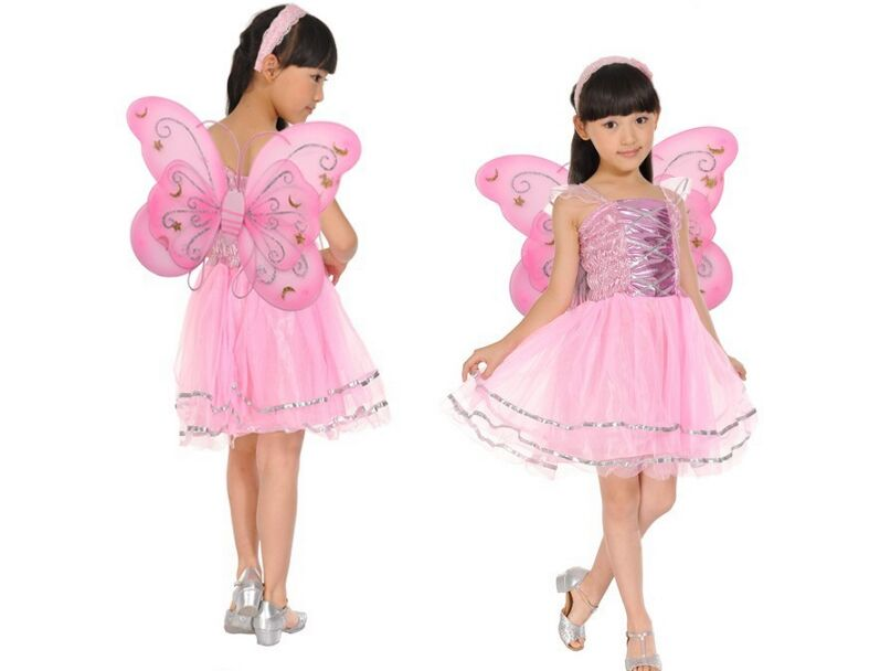 Kids Halloween Costume girl birthday party Butterfly Fairy Skirt Colorful dance skirt Fancy dress set  Headband Wing Magic Wand