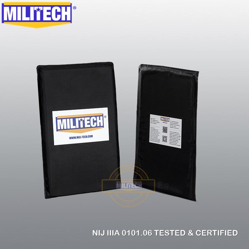 MILITECH 6'' x 10'' NIJ IIIA 0101.06 & NIJ 0101.07 HG2 Pair Set Aramid Soft Ballistic Panel BulletProof Plate Inserts Body Armor