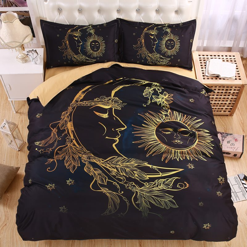 Lightweight BOHO Sun Moon and Stars 3D Bedding Set Duvet