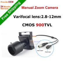 """¡ Venta caliente! vari-focal de la lente mini cámara 900tvl 2.8 ~ 12mm lente ajustable 1/4 """"CMOS sistema de seguridad CCTV Cámara envío gratis"""