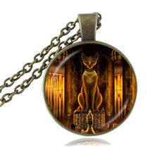 Ancient Egyptian Cat Goddess Statue Necklace Egypt Lord Pendant Handmade Glass Necklace Women Jewelry Amulet Accessories HZ1