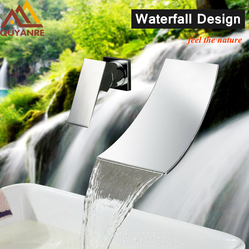 Modern Wall Mounted Waterfall Basin Faucet Mixer Tap with Ceramic Valve Single Handle Two Holes for Chrome Bathroom Sink Faucet us free shipping wholesale and retail chrome finish bathrom sink basin faucet mixer tap dusl handle three holes wall mounted