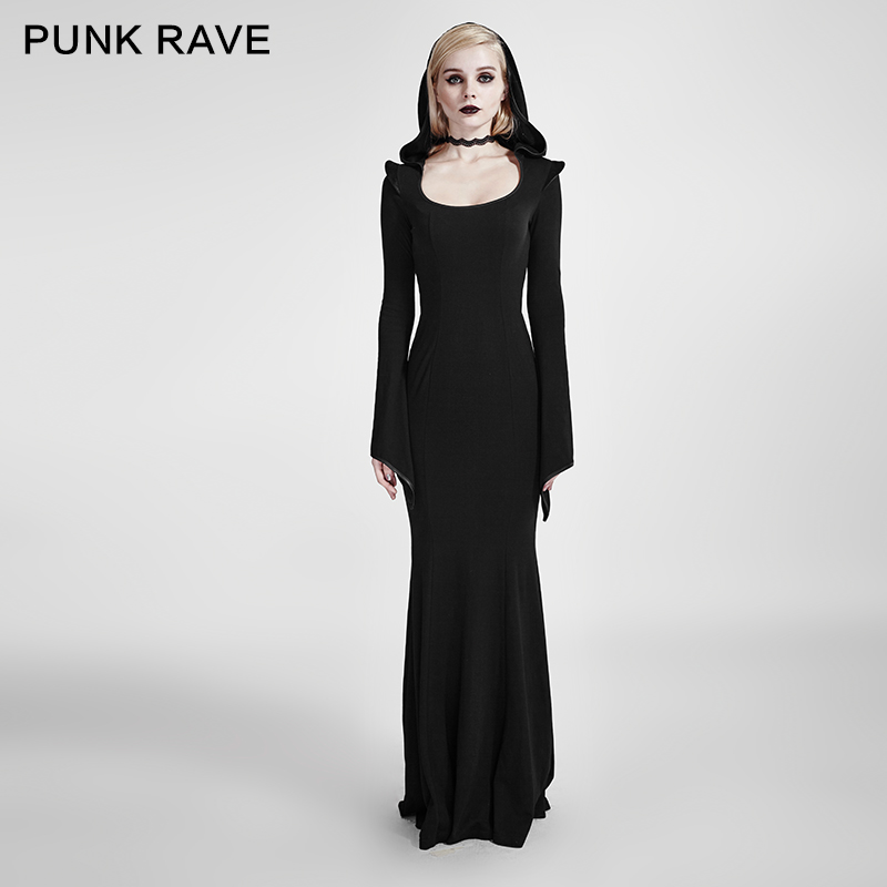 2018 New Punk Rave Gothic Dark Arts Women fashion Casual Sexy Dress Long Black Hooded Witch Cloak S L XXL Q296