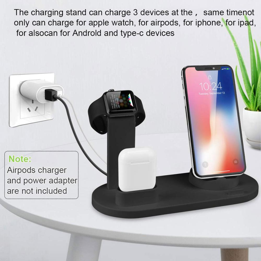 FDGAO 3 in 1 Charging Dock Charger Stand For Apple Watch Series AirPods iPhone Xiaomi Samsung Universal Charging Base Station in Wireless Chargers from Cellphones Telecommunications