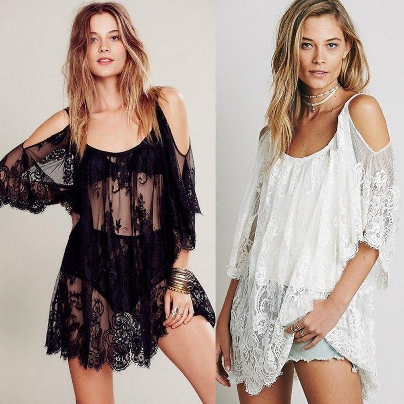 Cover Up Summer Beach Dress Women Summer Lace Floral Swimwear Bikini Crochet Cover Up Beach Dress Shirt Tops Swimsuit Cover Up