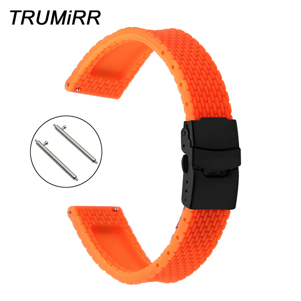 Quick Release Silicone Rubber Watch Band 22mm For Samsung Gear S3 Classic Frontier Garmin Fenix Chronos Safety Clasp Wrist Strap
