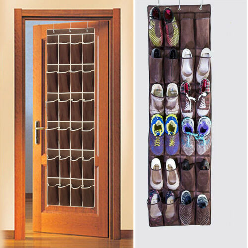 24 Pocket Over the Door Shoe Organizer Rack Hanging Storage Space Save Hanger Behind Door Free Nail Bedroom