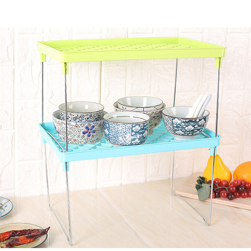 Bathroom Storage Holders & Racks Foldable Shelf Kitchen Cabinet Storage Stackable Cupboard Rack Organizer
