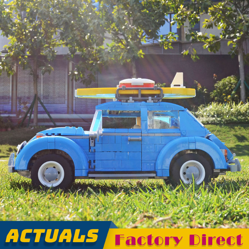 IN STOCK Beetle Model Vehicle 21003 Creator Expert Building Blocks Classic Car with LED Light Set