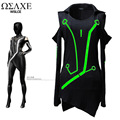 singer dancer movie Wslce strapless luminous t-shirt exotic costume long-sleeve lovers high quality women's boutique