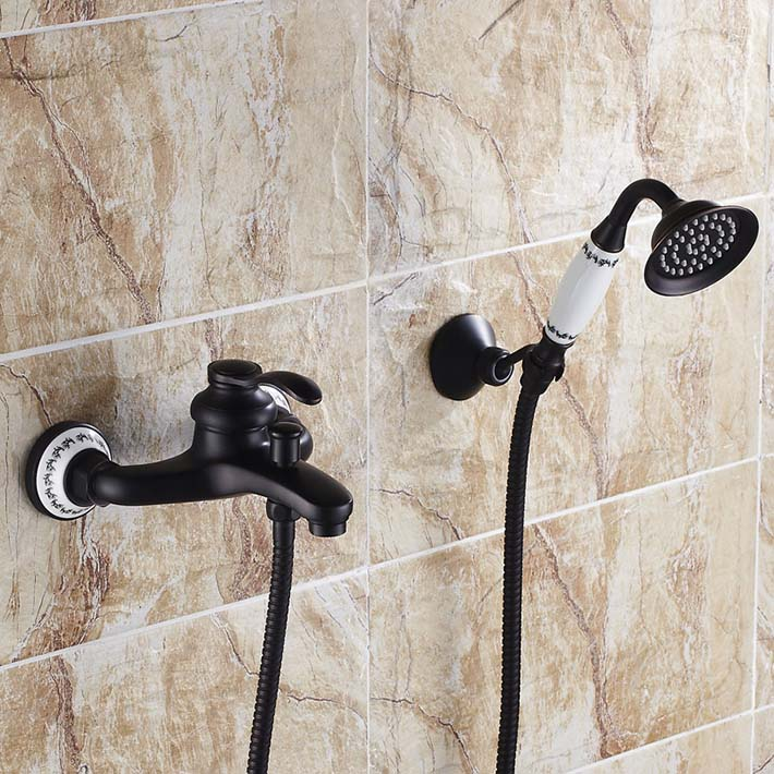 Euro Style Bathroom Tub Shower Faucet Oil Rubbed Bronze (antique black ) Shower Mixer Tap with ceramic hand shower set  YM-022 black oil rubbed bronze bathroom accessory wall mounted toothbrush holder with two ceramic cups wba197