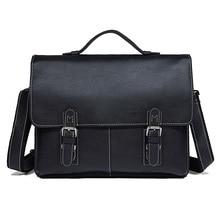Men's Briefcase Cow Leather Black Bags Business Black Man Shoulder Crossbody Messenger Travel Vintage  15